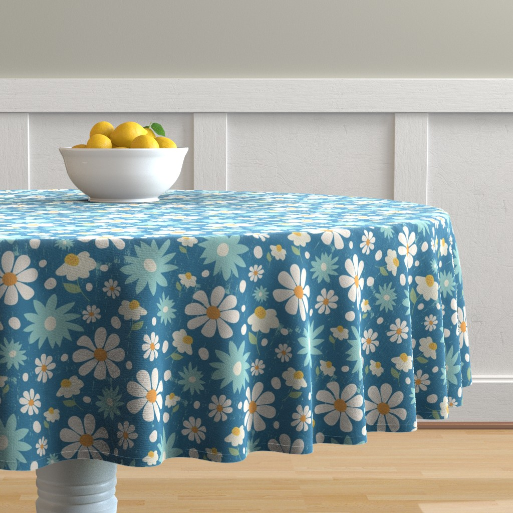 Malay Round Tablecloth featuring Golden Daisy Spring Teal Floral Garden Blast by studiojulieann