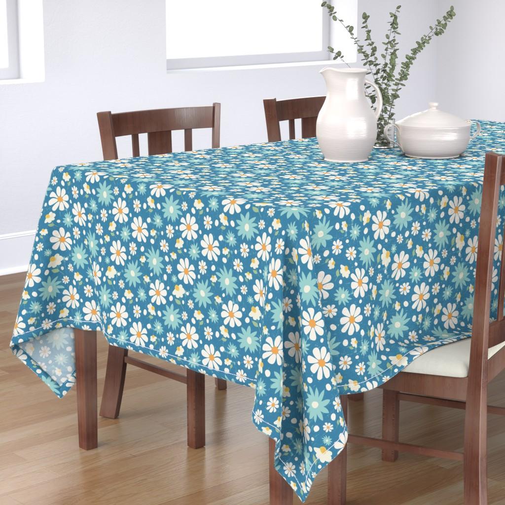 Bantam Rectangular Tablecloth featuring Golden Daisy Spring Teal Floral Garden Blast by studiojulieann