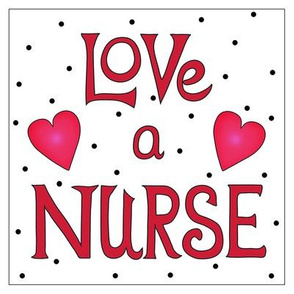 Love a Nurse 8 inch Block Red