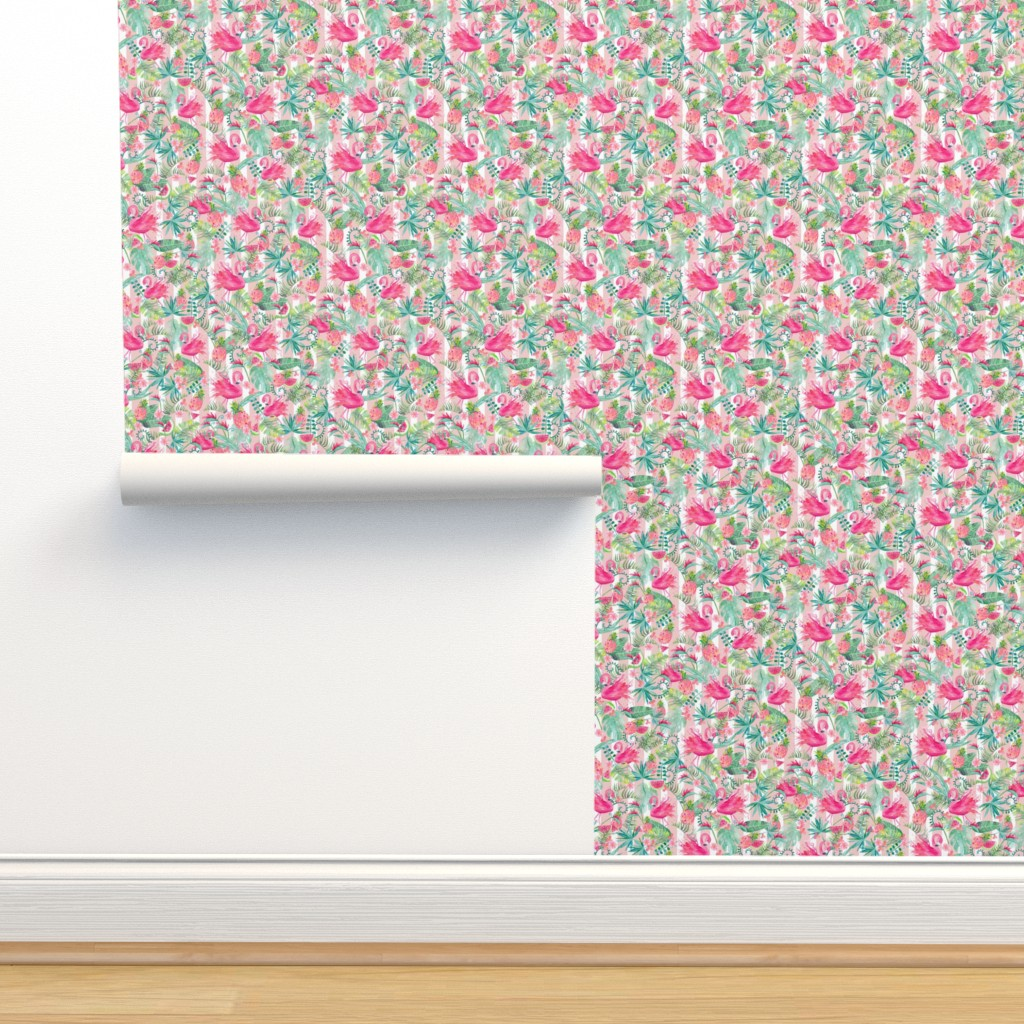 Isobar Durable Wallpaper featuring Tropical Summer on Stripes Small Scale by gingerlique