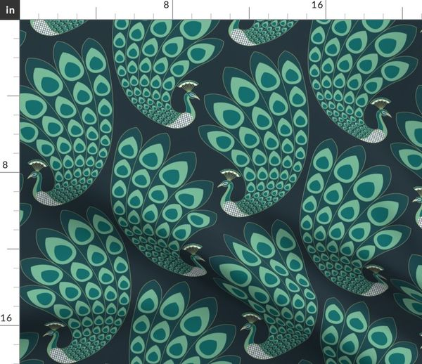 Fabric By The Yard Emerald Green Art Deco Peacock