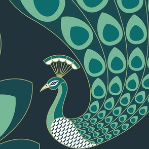 Emerald Green Art Deco Peacock - Large