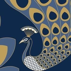 Blue Art Deco Peacock - Large