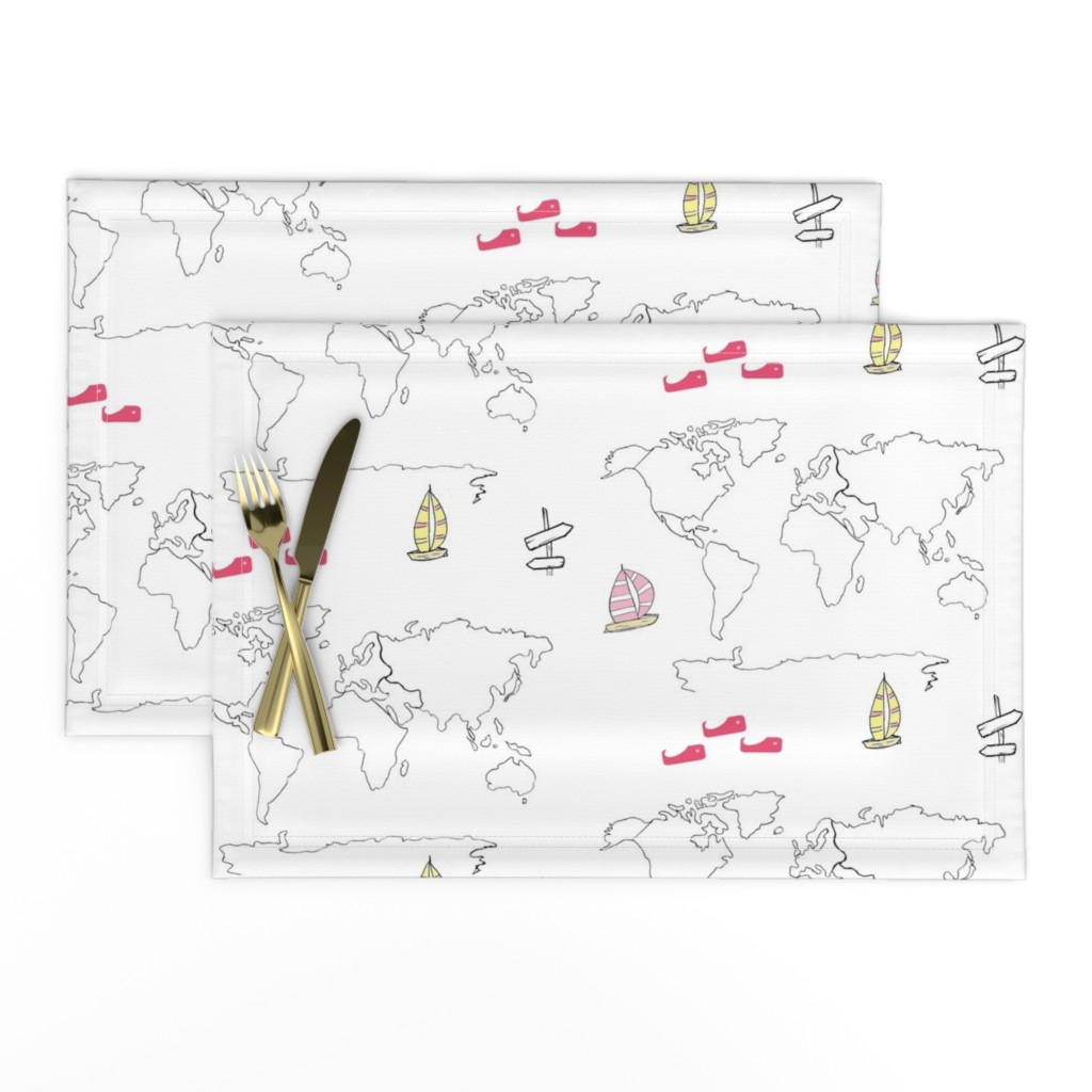 Lamona Cloth Placemats featuring map - world yellow pink 105 -black and white boats by drapestudio