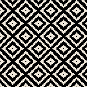 Boho Aztec Black & Tan {half size}