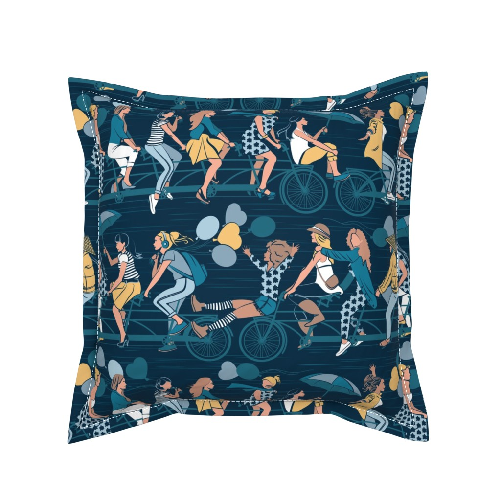 Serama Throw Pillow featuring Sisterly riding the world together // yellow details version by selmacardoso