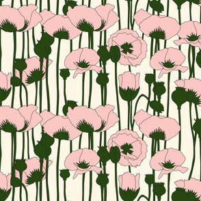 poppies in pink on natural