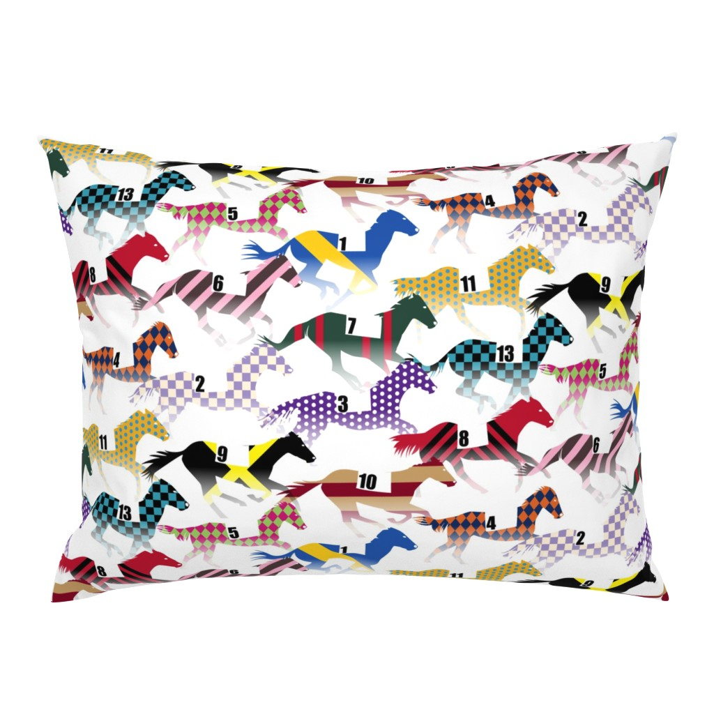Campine Pillow Sham featuring Off to the Horse Races Jockey Silk Pattern  by wickedrefined