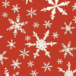 Snowflakes - Ivory, Cranberry
