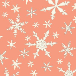 Snowflakes - Ivory, Grapefruit