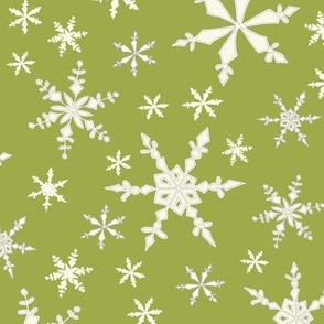 Snowflakes - Ivory, Green Apple