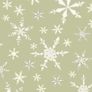 Snowflakes - Ivory, Honeydew