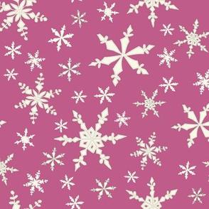 Snowflakes - Ivory, Plum
