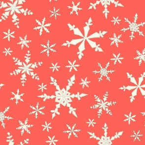 Snowflakes - Ivory, Watermelon