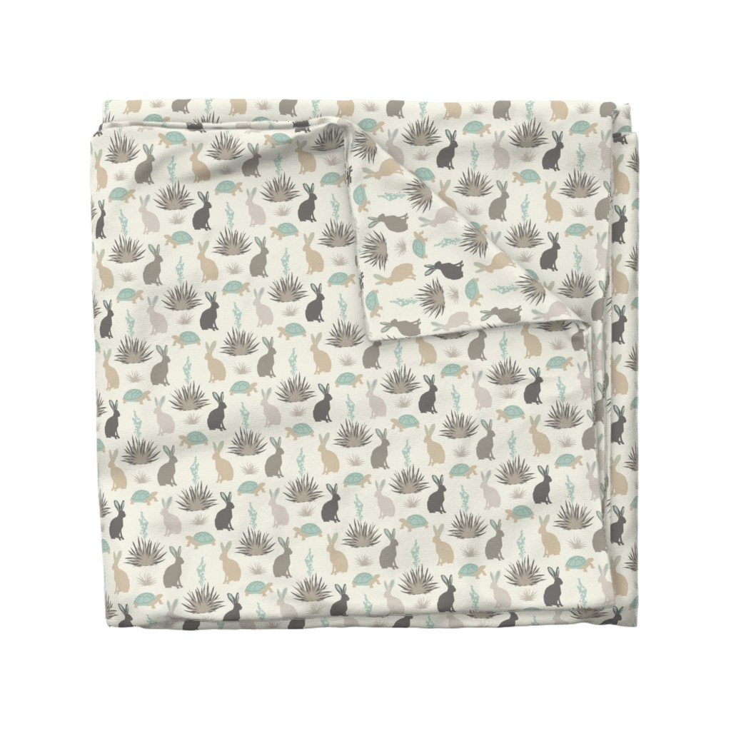 Wyandotte Duvet Cover featuring Tortoise & Hare - Small - Aqua, Ivory by fernlesliestudio