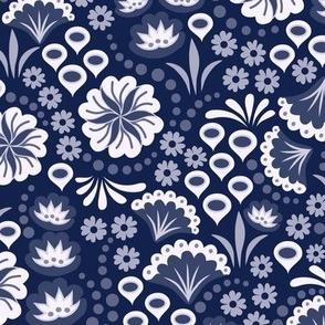 Navy Monochrome Floral