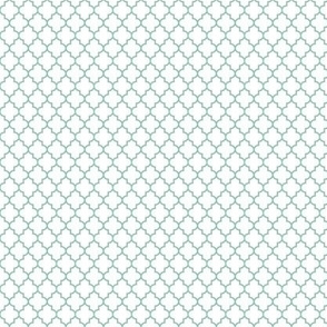 quatrefoil faded teal on white - small