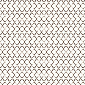 quatrefoil chocolate brown on white - small