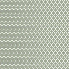 quatrefoil sage green - small