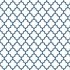 quatrefoil MED navy blue on white