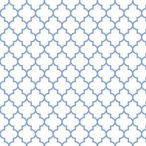 quatrefoil MED cornflower blue on white