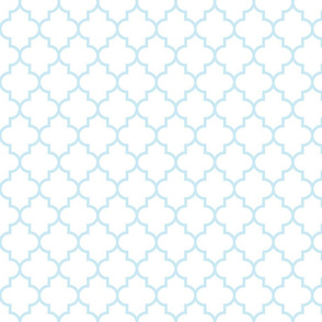 quatrefoil MED ice blue on white