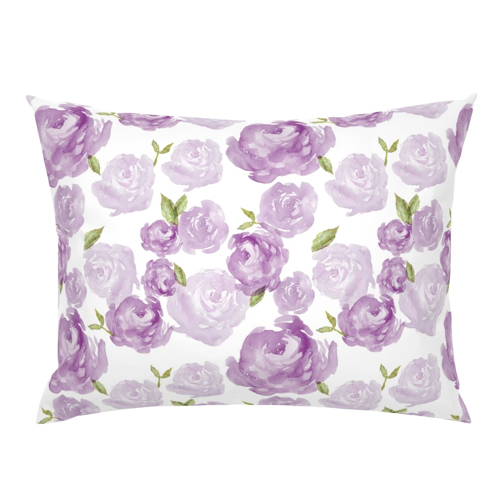 Campine Pillow Sham featuring Purple Watercolor Floral by laurapol