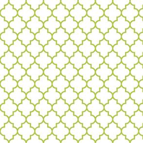 quatrefoil MED lime green on white