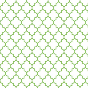 quatrefoil MED apple green on white
