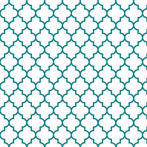 quatrefoil MED dark teal on white