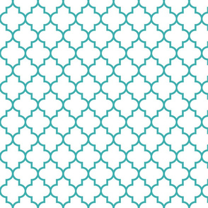quatrefoil MED teal on white