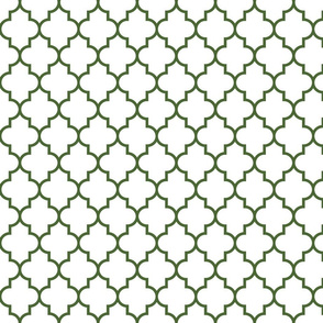 quatrefoil MED hunter green on white