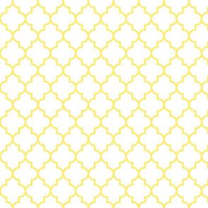 quatrefoil MED lemon yellow on white