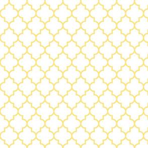 quatrefoil MED sunshine yellow on white