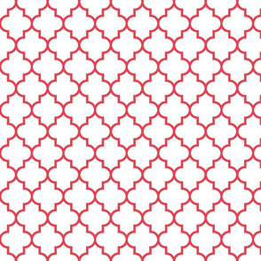 quatrefoil MED bold coral on white