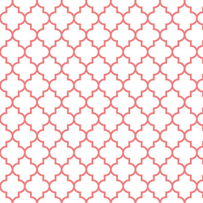 quatrefoil MED coral on white