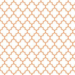 quatrefoil MED tangerine on white