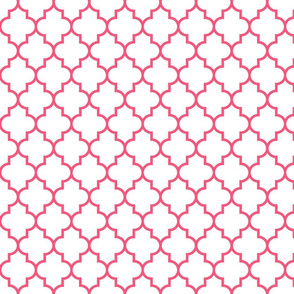 quatrefoil MED hot pink on white