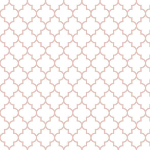 quatrefoil MED dusty pink on white