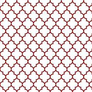 quatrefoil MED dark red on white