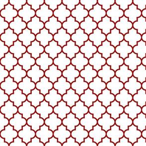 quatrefoil MED dark red on white