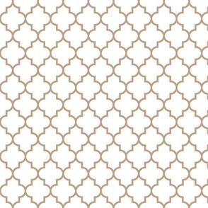 quatrefoil MED tan on white