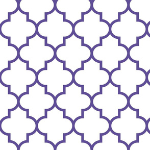 quatrefoil LG purple on white