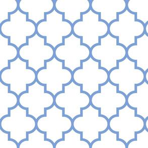 quatrefoil LG cornflower blue on white