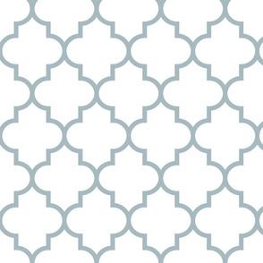 quatrefoil LG slate blue on white