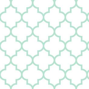 quatrefoil LG mint green on white