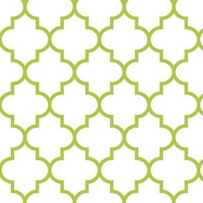quatrefoil LG lime green on white