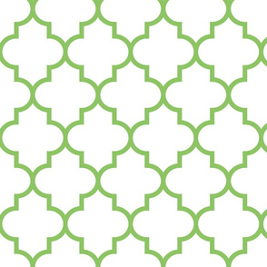 quatrefoil LG apple green on white