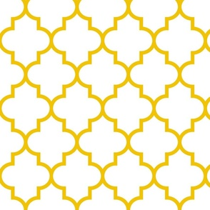 quatrefoil LG mustard yellow on white
