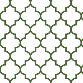 quatrefoil LG hunter green on white